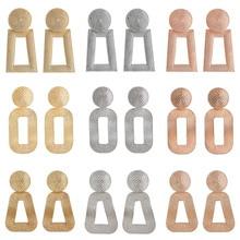 WUKALO 2020 New Gold Silver Color Vintage Metal Geometric Drop Earrings For Women Statement Fashion Dangle Earring Jewelry oval blue stone pearl dangle earrings for women drop earring gold color statement trendy boho designer vintage jewelry hot me010