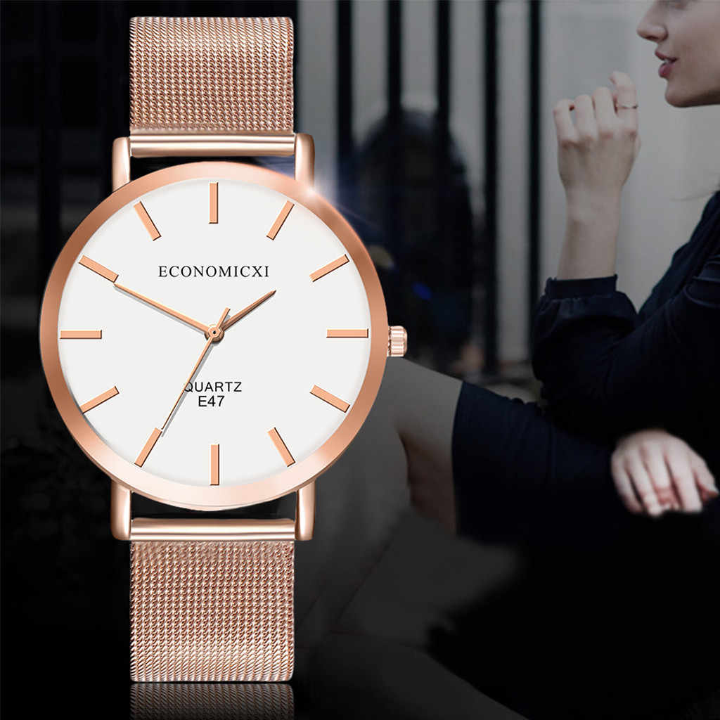 2020 Reloj de pulsera de Mujer de oro rosa y acero inoxidable, pulsera de cuarzo Saat Zegarek Damski, relojes Reloj Mujer bayan kol saati