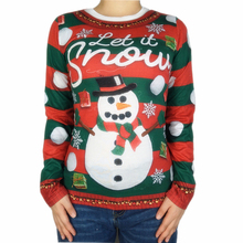 Funny Snowman Printed Ugly Christmas T Shirt for Women Cute Womens Long Sleeve Holiday Party Shirts Plus Size
