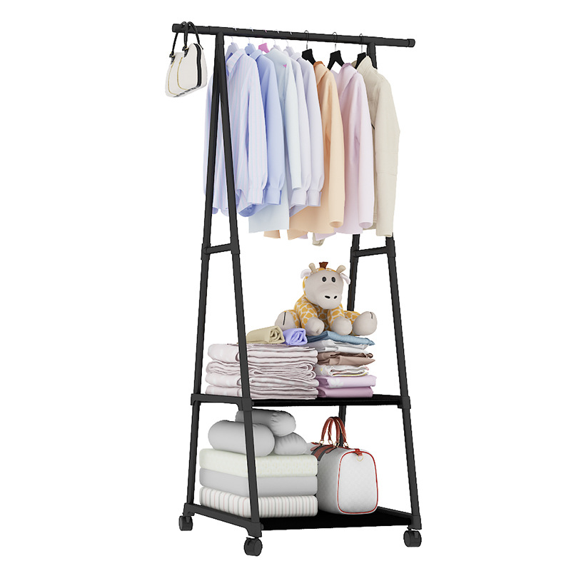 Triangle Coat Rack Removable Floor Clothes Hanger Portable Bedroom Wardrobe Closet Moving Metal Hat Coat Stand With Wheels