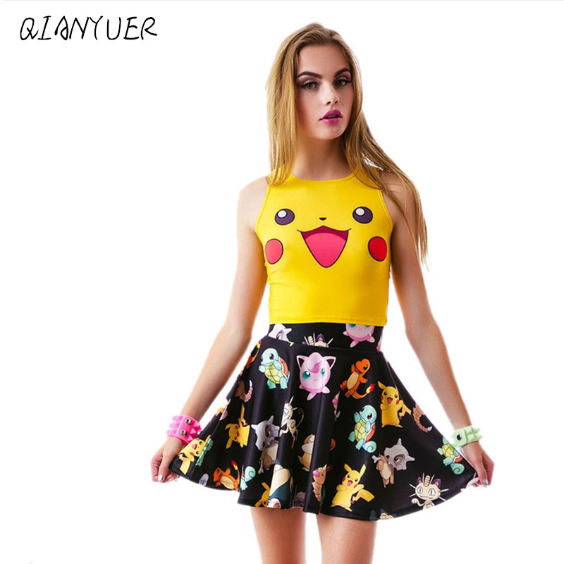 Summer Fashion Women Squirtle Pikachu AA Style Bustier Top <font><b>Sexy</b></font> Camisole <font><b>3D</b></font> Bulbasaur <font><b>Cartoon</b></font> Print Tops image