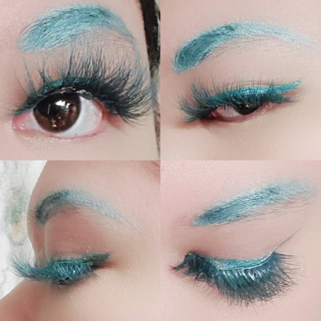 Xinemilin colored faxu mink fake lashes wholesale makeup natural individual false eyelashes various colors white green blue red 5