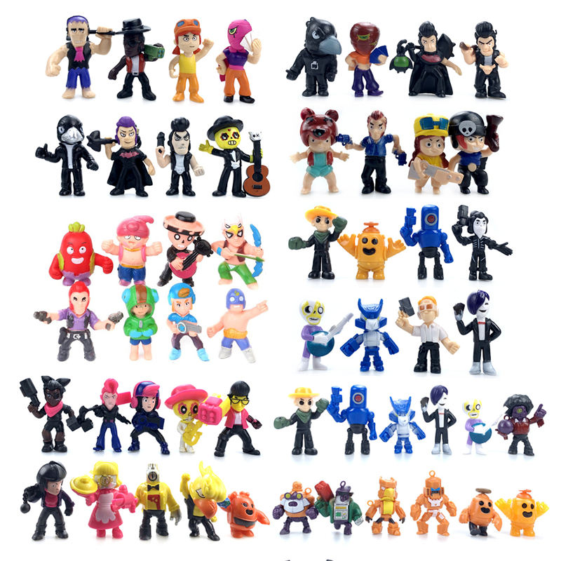 18pcs Brawl Stars Game Action Figure Toys Hero Poco Shelly Nita Colt Jessie Brock Collectiable Block Model Toy For Kids Gifts