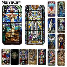 MaiYaCa Angelo Chiesa Gesù Stained Glass Window Copertura Del Telefono per il iphone SE 2020 11 pro XS MAX 8 7 6 6S Plus X 5 5S SE XR(China)