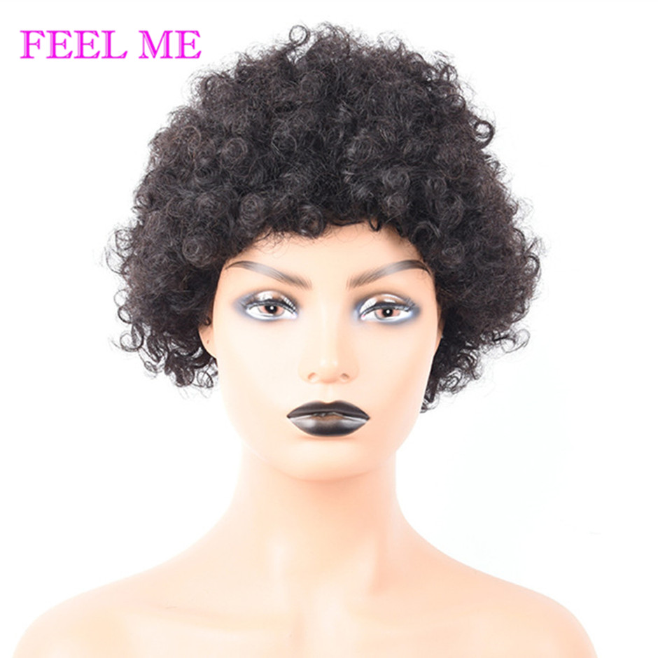 FEEL ME Short Human Hair Wigs Afro Spiral Curly Brazilian Remy Hair Wigs For Black Women Full Machine Made Wigs 10 Inches