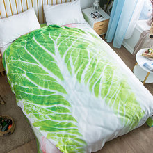 3D Cabbage Cartoon Animal Plaid Throw Blanket Soft Cotton Bed Quilt Summer Cool Plaid Sofa Blanket for Kids Adult High Quality
