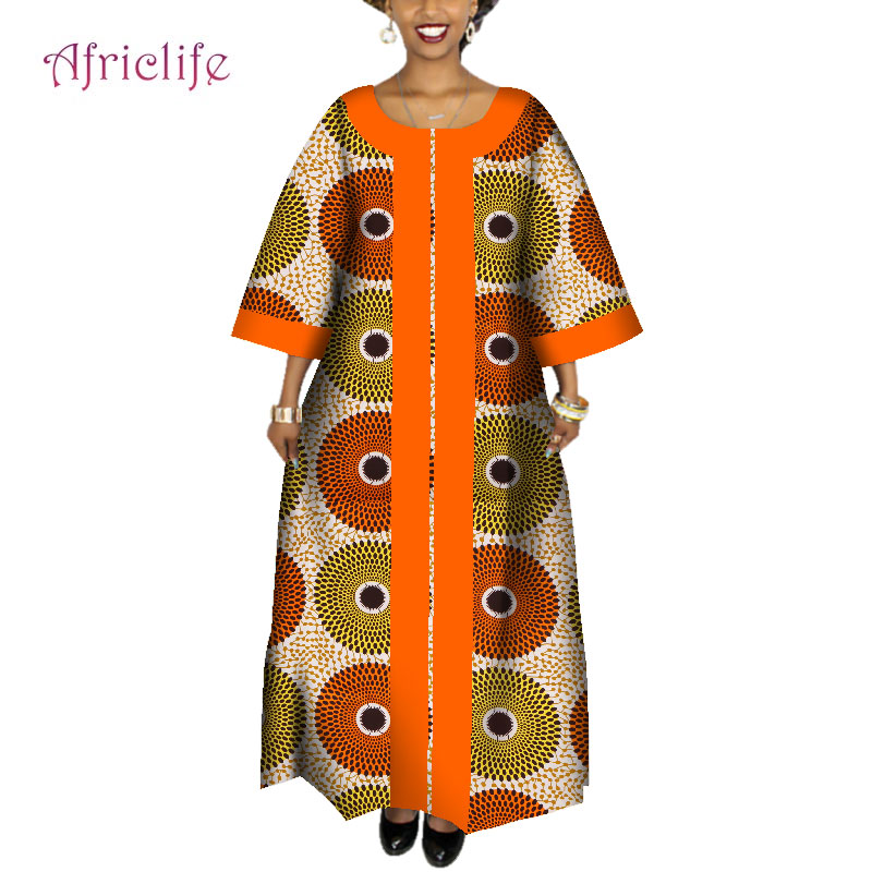 2020 African Dresses For Women Plus Size Fashion Design New African Bazin Casual Long Dress Africa Traditional Clothing WY4095