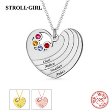 StrollGirl Authentic 925 Sterling Silver Personalized Heart Necklace with Birthstones&Name Jewelry For Couple