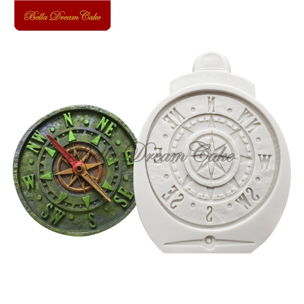 Antique Compass Silicone Molds Cake Moulds Chocolate Fondant Clay Soap Mould Cake Decorating Tools Baking Accessories