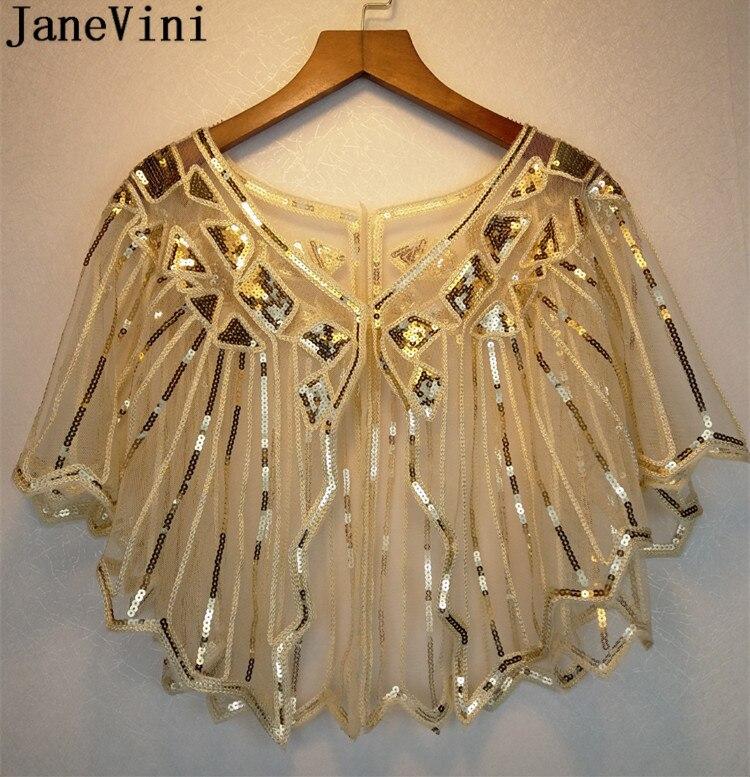 JaneVini Luxurious Gold Sequined Women Evening Wrap Wedding Capes Shiny Beading Tulle Bridal Party Dress Jackets Bolero Marriage