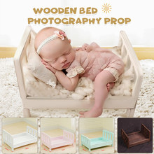 Newborn Props for Photography Wood Bed Newborn Posing Baby Photography Props Photo Studio Crib Props for Photo Shoot Posing Sofa(China)