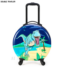 New kids rolling luggage,round suitcase on wheels,children's travel trolley luggage case,dinosaur Cartoon carry on bag,kids gift
