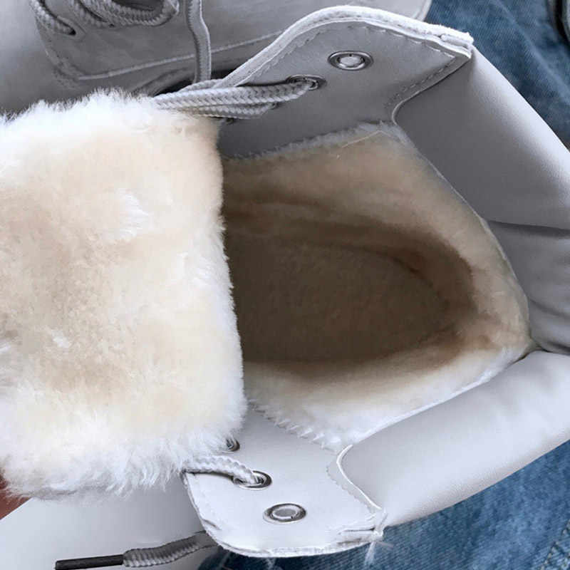 Winter Frauen Stiefel Warme Schnee Boot Gummi Turnschuhe Plattform Schuhe Pelz Weiß Stiefel Lace Up Bota Feminina Punk Schoenen Vrouw