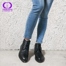 AIMEIGAO/женские ботильоны на шнуровке, короткие теплые плюшевые туфли на молнии, удобные женские туфли на низком каблуке, осень весна