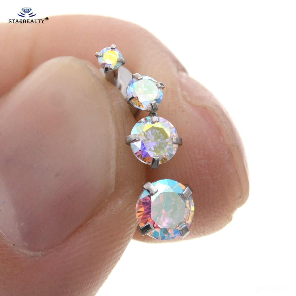 4 Pcs 16g Round Rainbow Crystal Nose Piercing Oreja Tragus