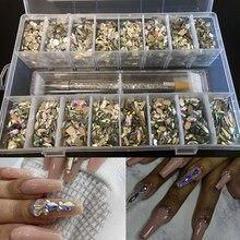 2000pcs mix combinação bling caixa ab strass!! 16 forma (125 pces/forma) flatback prego strass kits tamanho pequeno conjunto de diamantes b0189