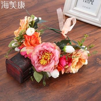 Haimeikang Rose Peony Flower Crown Girl Bridal Floral Headband Wreath Wedding HairBands Hair Accessories Women Bridesmaid Diadem