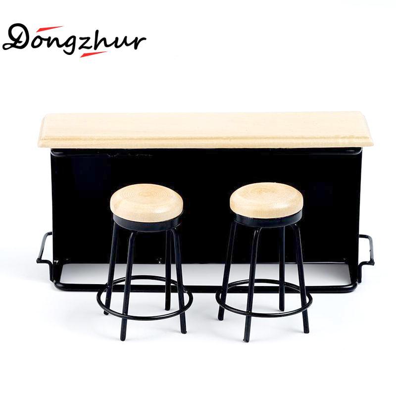 Dollhouse Accessories Miniature Bar Counter Bench Set Modern Furniture Simulation Model For 1:12/1:16 Dollhouse Scene Decoration