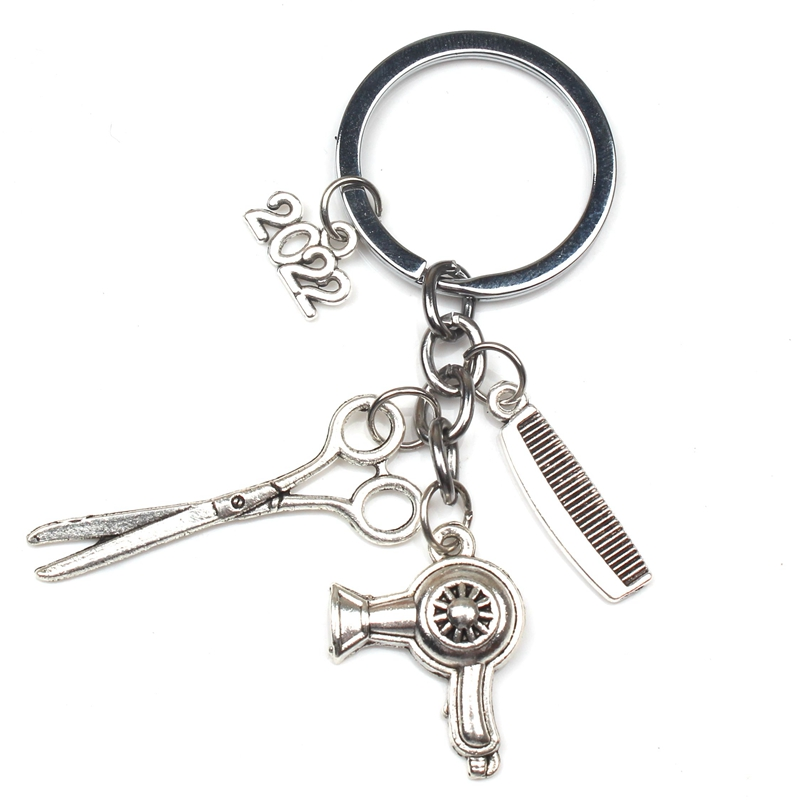 Fashion Alloy Trinkets Wash And Blow Hairdresser Stylist Hair Dryer Comb Scissors Charm Pendant Key Ring Suitable Festival Gifts