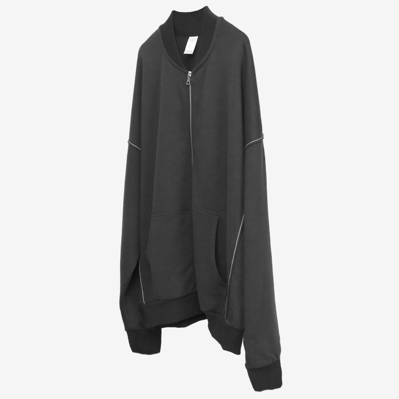 Full-zip Inside Out Sweatshirt Contrast Stitching Raglan Coats Streetwear