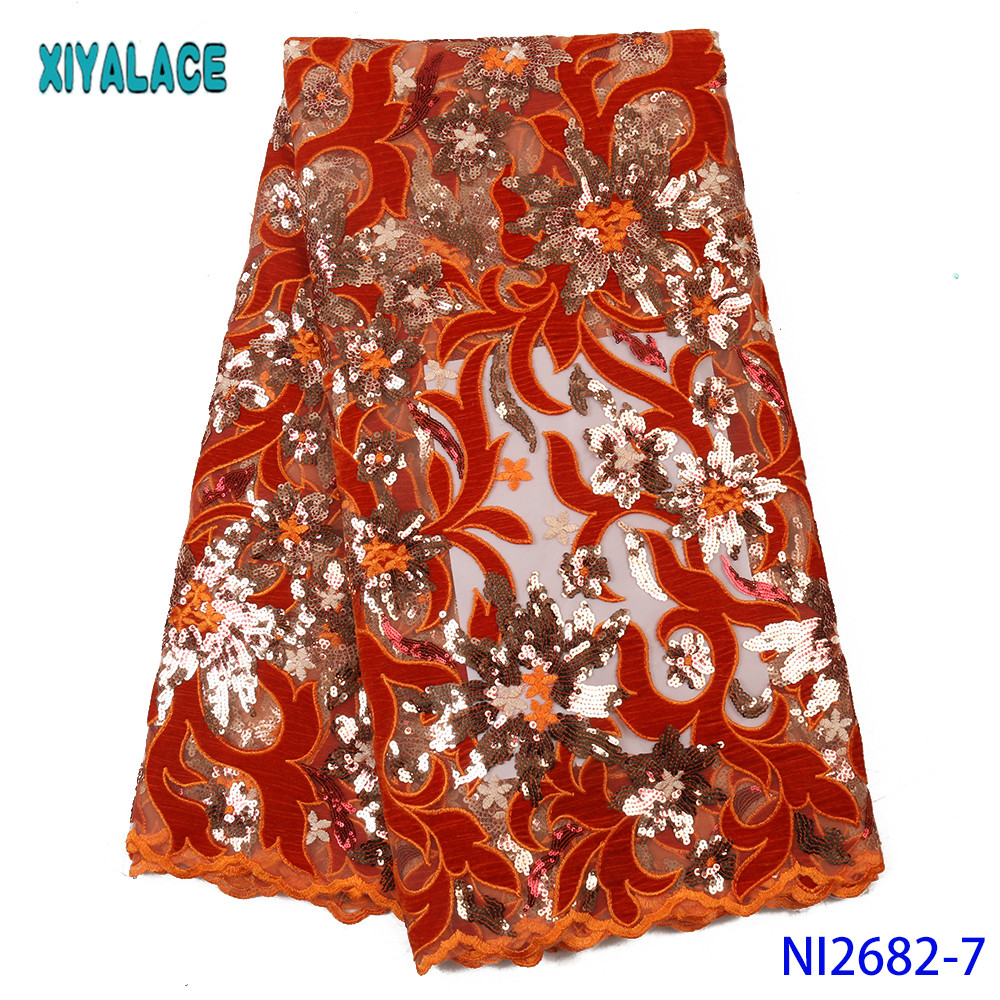 Nigerian Lace Fabric 2019 High Quality Lace Velvet Sequin Fabric Hot Sale Velvet Lace Fabric KSNI2682