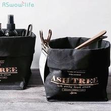 Nordic Style Original Retro Black Kraft Paper Bag Hot-Stamped Letter English Tear-Resistant Washable Cosmetics Storage Bags