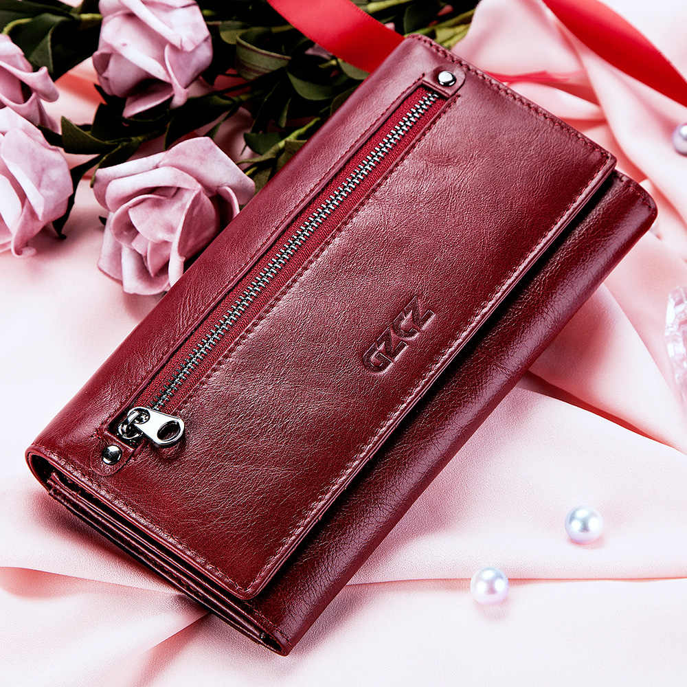 GZCZ نساء مخلب محافظ 100% جلد طبيعي تتفاعل بطاقات متعددة حامل طويل موضة أنثى محفظة نسائية للعملات المعدنية مع حقيبة الهاتف 2020