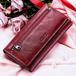 Image 5 - Gzcz女性クラッチ財布100% 本革rfid複数のカードホルダーロングファッション女性コイン財布電話バッグ2020