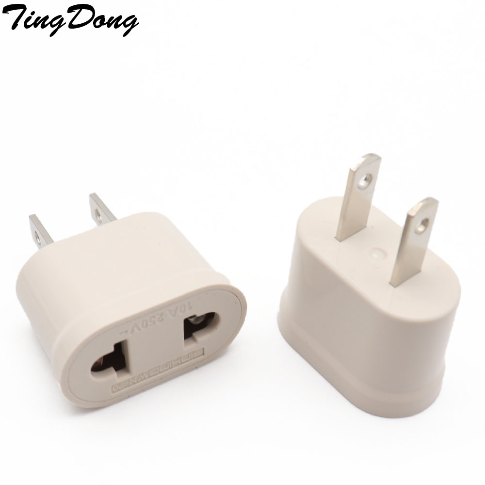 US American Plug Adapter 2 Pin EU European Euro Europe AU KR To US JP Travel Adapter Plug Outlet Power Electric Socket Outlet image