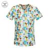 NEW Arrival Women Scrub Top With V-Neck 100% Cotton Blue cartoon cat Print Beauty Salon Scrub Uniforms laboratory Scrub Tops