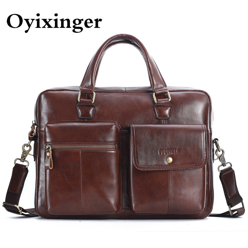 OYIXINGER Vintage Briefcases Men Genuine Leather Messenger Bags 14.1