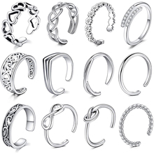 3-12Pcs Open Toe Rings Adjustable Toe Band Ring Set Finger Foot Jewelry for Women Men 12Pcs