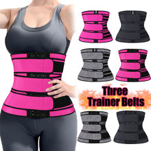 Neoprene Sweat Body Shaper Belts Three Waist Trainer Belt Shaping Colombian Girdles Adjustable Slimming Tummy Trimmer Corset