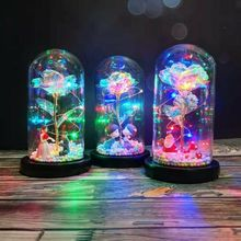 LED Enchanted Rose Light Silked Artificial Eternal Rose Flower In Glass Dome Lamp Decors Light Christmas Valentine Romantic Gift