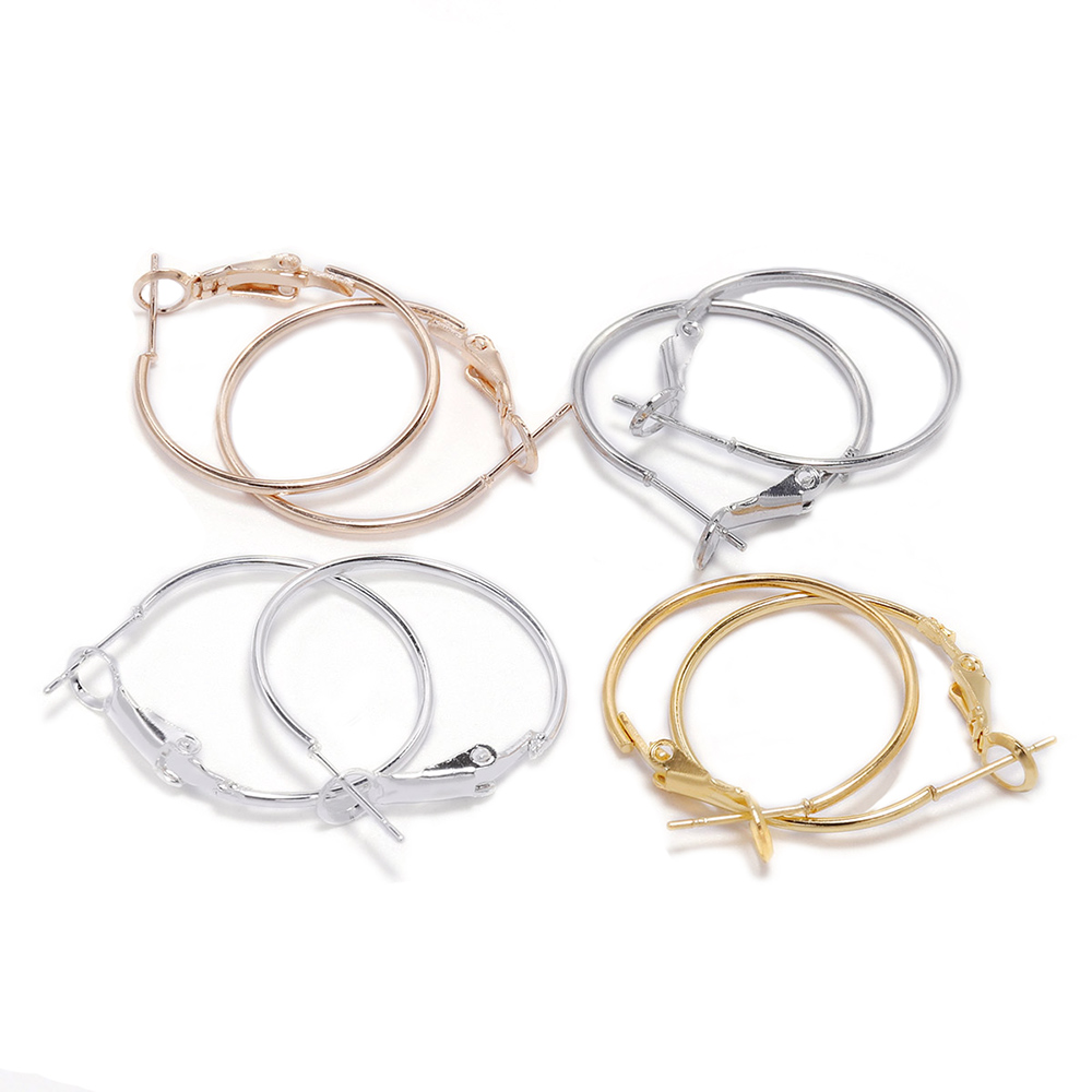 10pcs 20 25 30 40 50mm Gold Silver Circle Round Hoop Earrings Hooks Earring Findings For DIY Jewelry Making Accessories Supplies