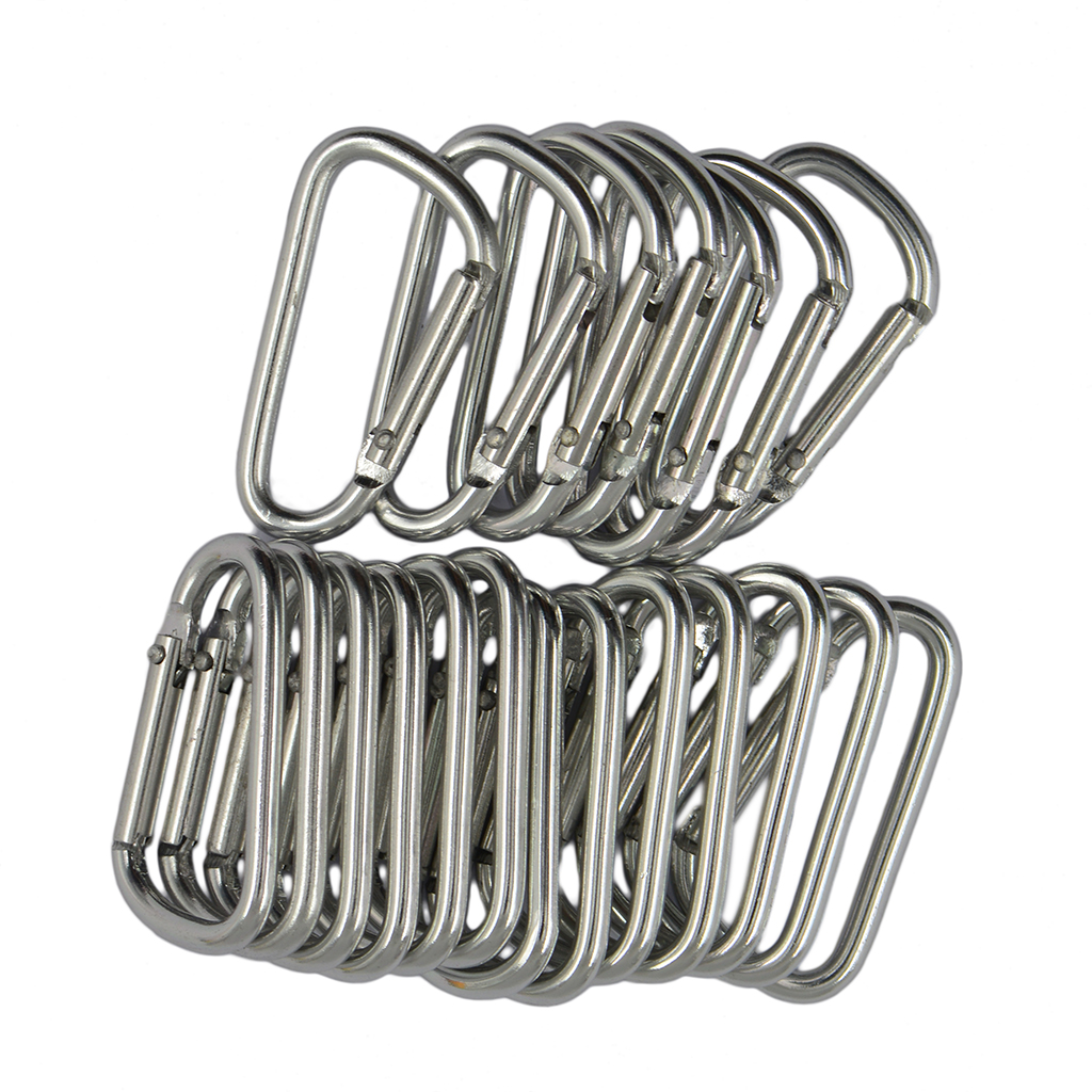 MagiDeal 20pcs Climbing Camping D Shape Hiking Carabiner Buckle Snap Spring Clip Hook Keychain Silver For Rock Climbing Access