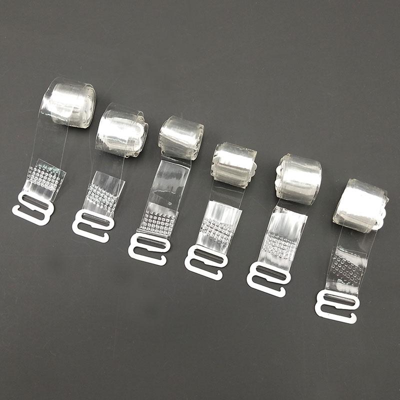 3Pairs=6Pcs Metal Buckle Bra Straps Belt Women's Elastic Transparent Silicone Bra Straps Adjustable  Intimates Accessories