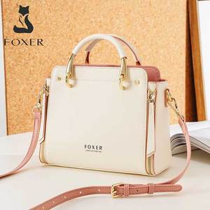 FOXER Women Cowhide Leather Handbag High Quality Commute Messenger Bag Elegant Stylish Ladies Shoulder Bag Female Casual Totes