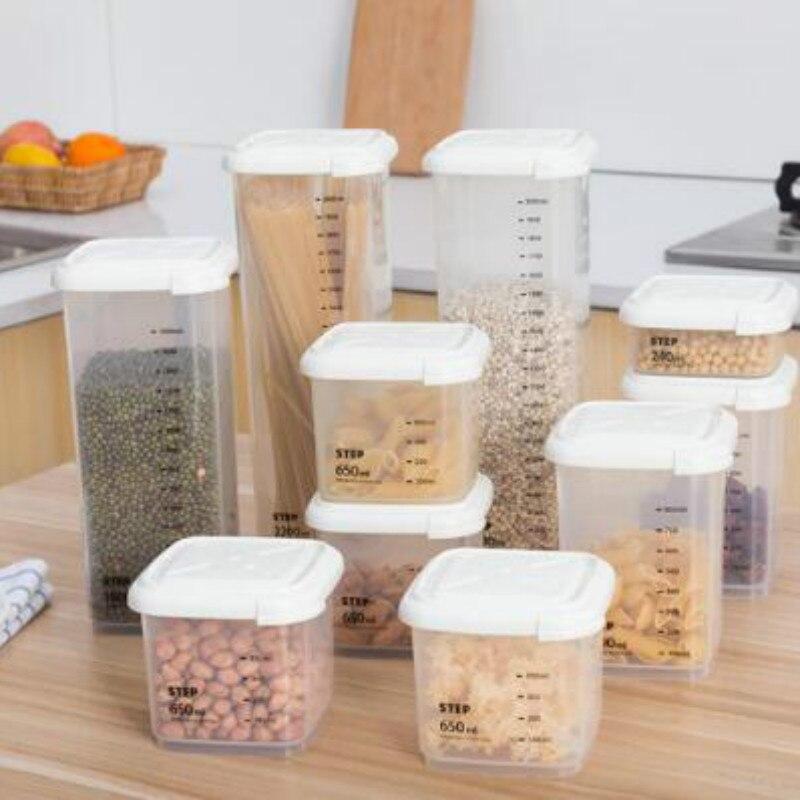 Boîtes en plastique scellées à 4 volumes, boîte de rangement de cuisine, récipient de nourriture transparent pour garder au frais, nouveau conteneur transparent B1 WJ112714