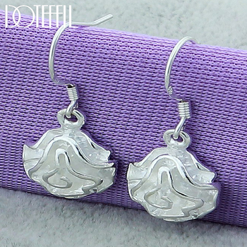 DOTEFFIL 925 Sterling Silver Rose Flower Drop Earrings For Woman Wedding Engagement Fashion Party Charm Jewelry flower jewelry set pink rose jewelry enamel rings earrings pendant 925 sterling silver party fashion for women accessories