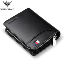 WILLIAMPOLO  Genuine Leather Mens Wallet Man Cowhide Cover Coin Purse Small Brand Male Credit&ID Multifunctional Walets pl298 multifunction the new leather mens wallet man coin purse small brand male credit