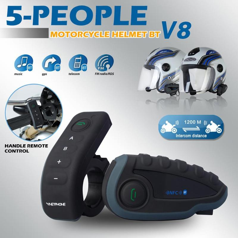 Bluetooth Intercom Headset Motorcycle-Helmet Radio Remote-Control-Handle Mobile-Phone