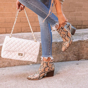 Women Leather Ankle Boots 2020 Woman Pointed Toe Mid Heels Ladies Leopard Female Casual Snake Pattern Women's Shoes Plus Size