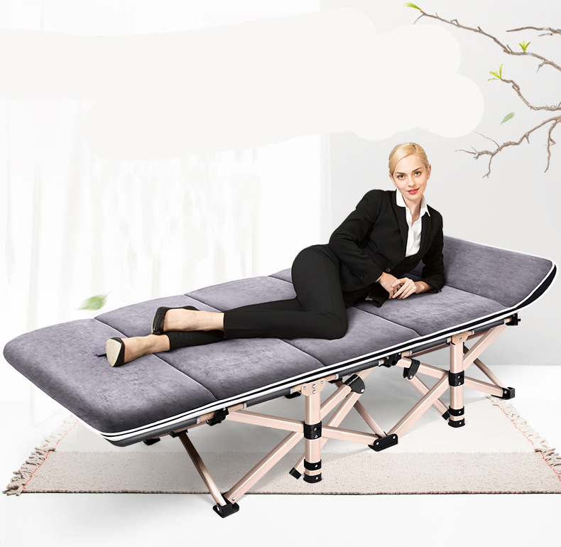 Folding Bed Single Bed Home Simple Nap Bed Office Adult Marching Recliner Nap Bed Portable