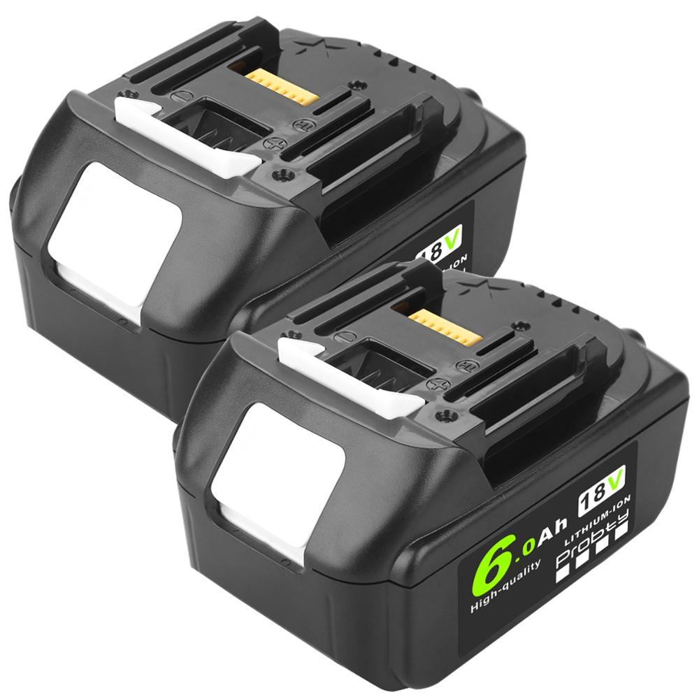 2pcs 18V <font><b>6000mAh</b></font> Li ion Rechargeable <font><b>Battery</b></font> for Makita <font><b>Battery</b></font> 18 V BL1830 BL1840 BL1850 BL1860B BL1860 image