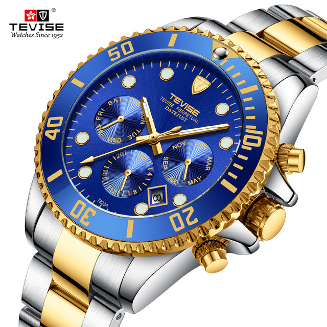 Tevise Brand Automatic Mechanical Men Watch Stainless Steel Sport Multi-function Waterproof Lumious Wristwatch Relogio Masculino