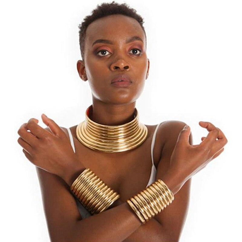 UDDEIN винтажное массивное ожерелье-чокер и подвеска, модные африканские ювелирные изделия золотого цвета из кожи для женщин, набор ожерелий м...