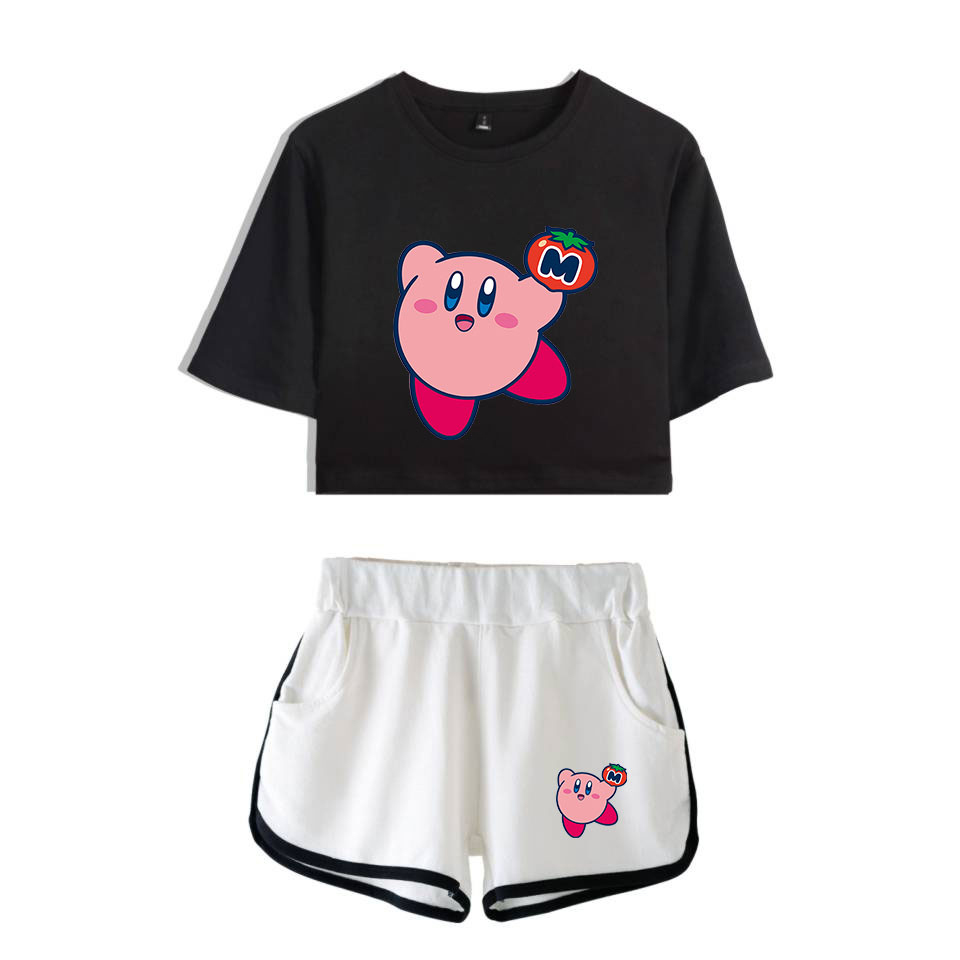Nostalgia Childhood ACT Game Kirby 2019 NEW Lovely Print Leisure Women Two Piece Set Shorts+lovely T-shirts Hot Sale Clothes