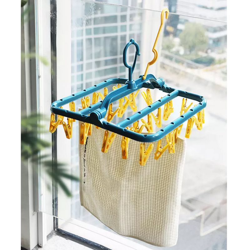 32 Clips Folding Drying Hangers Socks Drying Rack Laundry Underwear Bra Hanger Home Hanging Racks