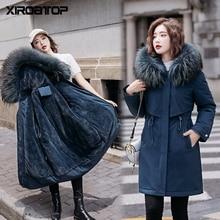 Winter Coat Parkas Hooded Wool-Liner Fur-Collar Women Clothing Warm Long Fashion Slim